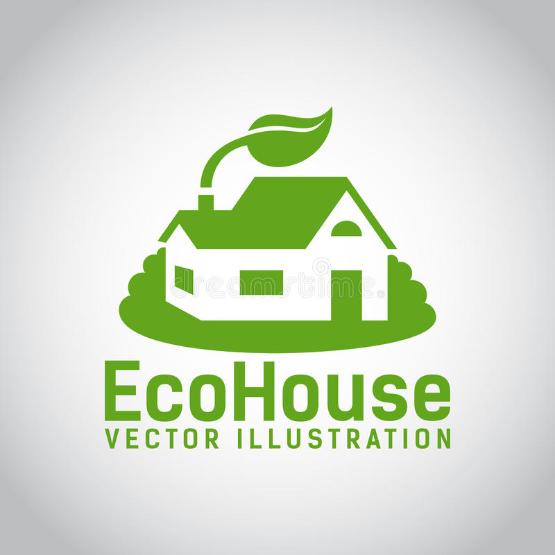 Vector green eco house icon royalty free illustration