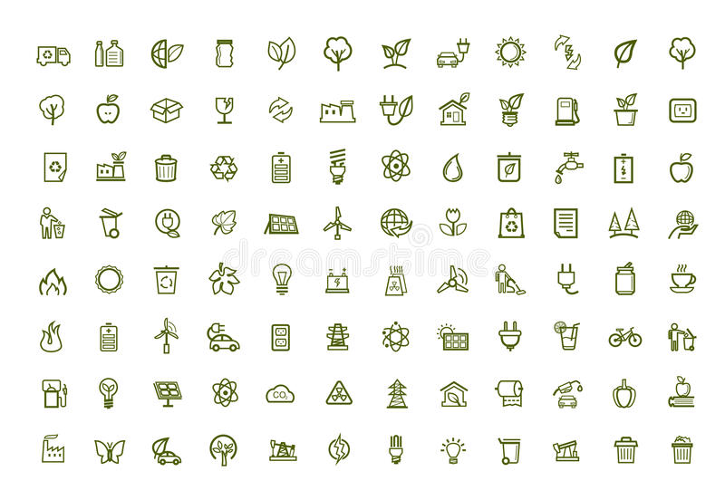 Download Vector green eco icons set stock vector. Image of power - 38523028