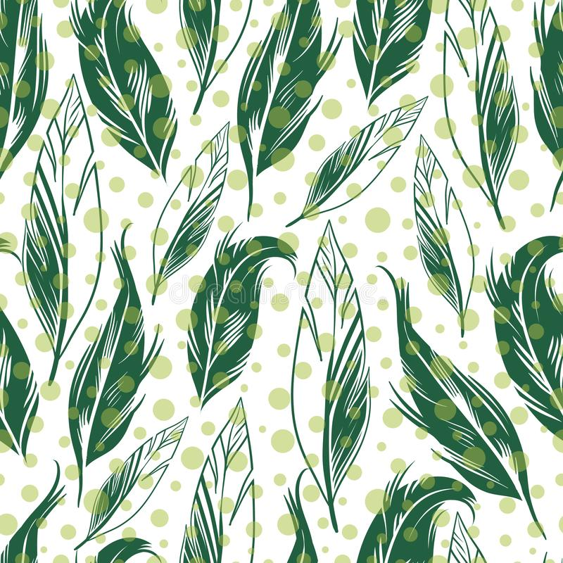 Vector green feather with polka dots seamless. Pattern background. Perfect use for fabric, fashion, wallpaper, giftwrap, scrapbooking etc stock illustration