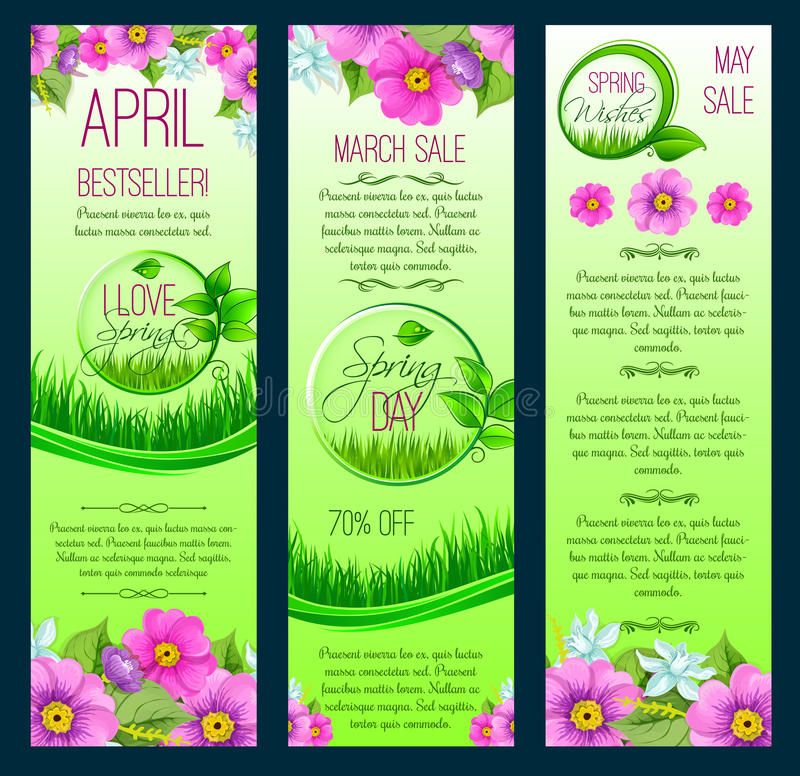 Vector green floral banners for spring sale royalty free illustration