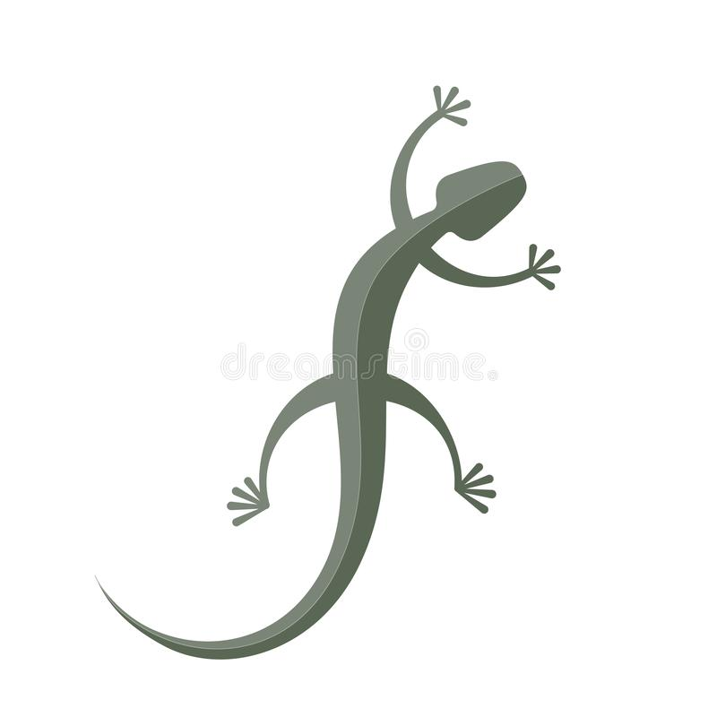 Vector green gecko isolated on white background royalty free illustration
