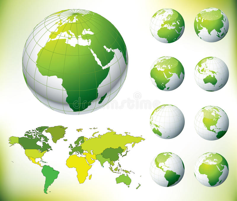 Download Vector Green Globe And World Map Stock Vector - Illustration: 12582249