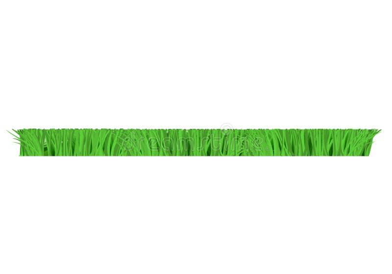 Vector green grass border for summer landscape. Vector green grass cut horizontal border for summer landscape design. Natural decoration element for parks royalty free illustration