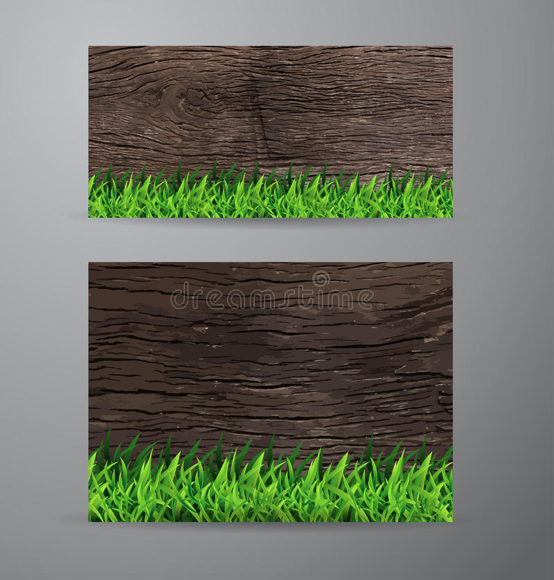 Vector green grass on wood background royalty free illustration