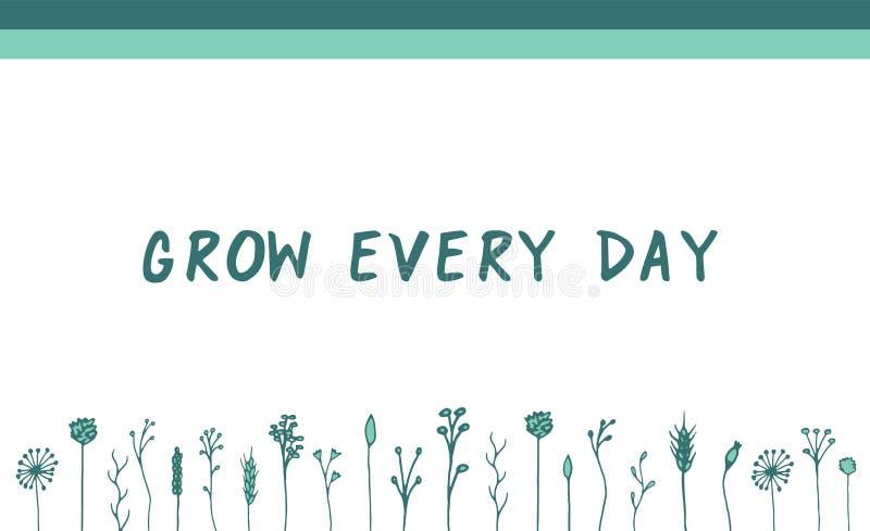 Vector green herbal motivational banner stock illustration