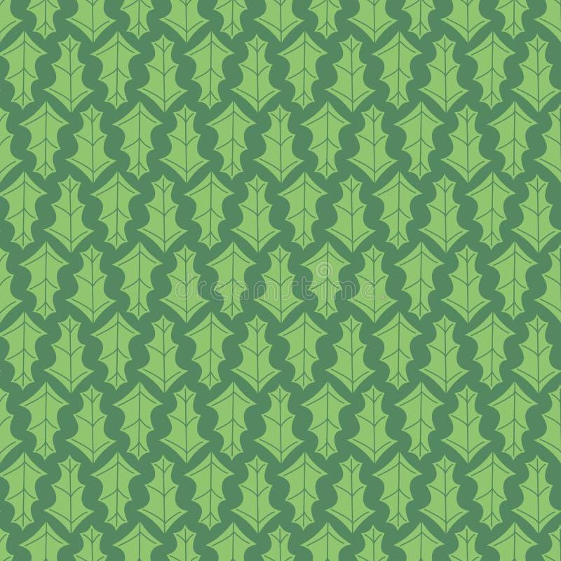 Vector Green Holly lämnar lövfärglöst upprepningsmönster vektor illustrationer