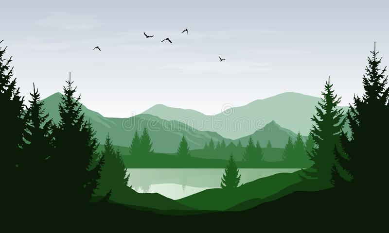 Vector green landscape with silhouettes of mountains and hills and trees in forest with lake.  stock illustration