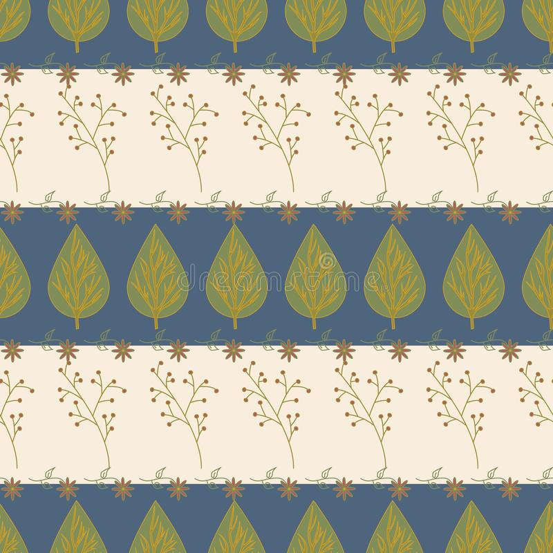 Vector Green Leaf Leaves, Red Berry Plant, Flowers on Blue Beige Stripes Background Seamless Repeat Pattern. Background royalty free illustration