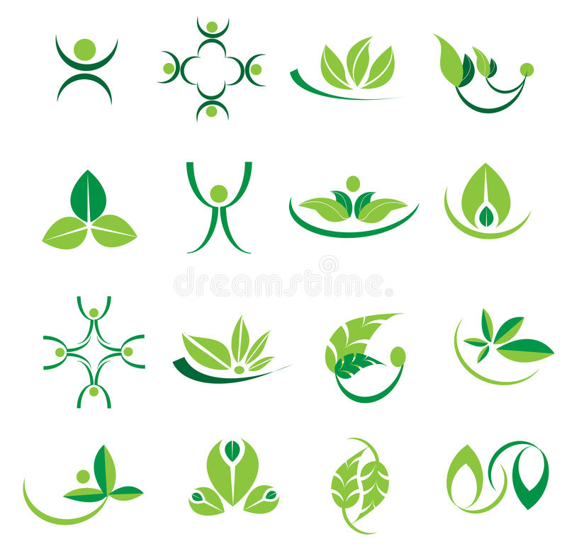 Free Vector Green Leaves Logo Icons, Ecology, Welness Designs Stock Image - 88991851