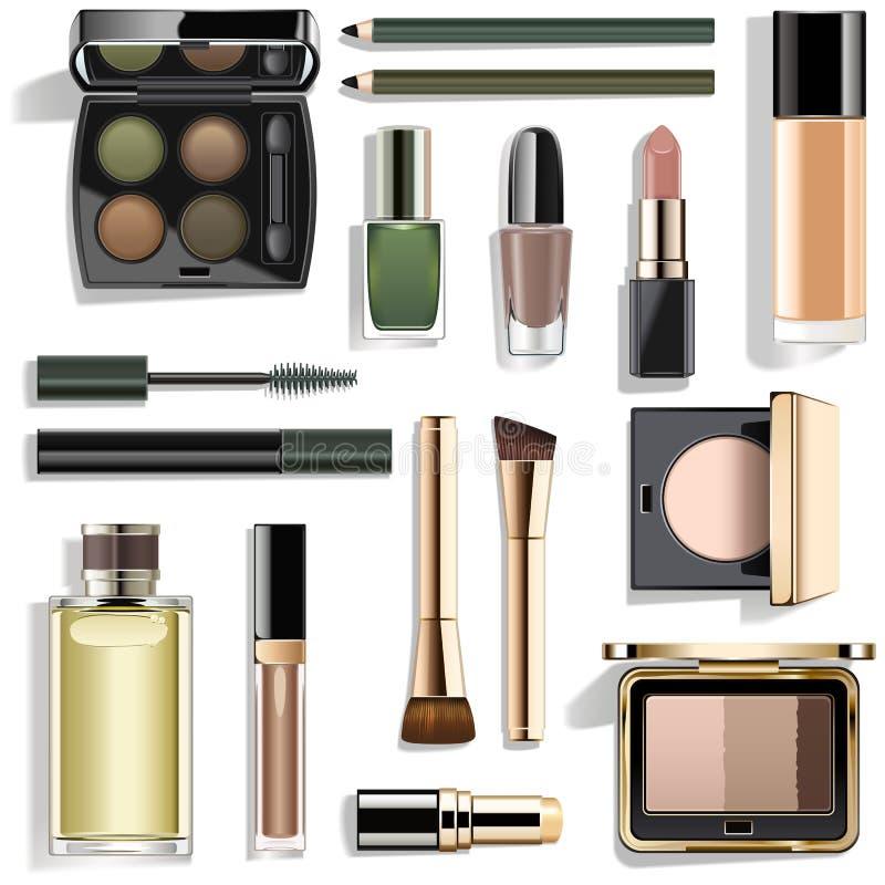 Vector Green Makeup Collection stock photography