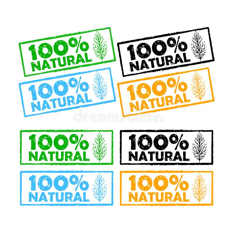 Vector natural product grunge rubber stamps isolated royalty free illustration