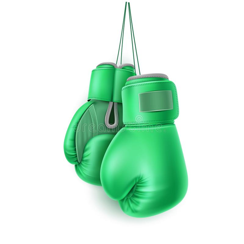 Vector green pair of boxing glove lace realistic. Boxing glove hanging on lace. Realistic green pair of box fist protection equipment. Vector boxer sportswear royalty free illustration