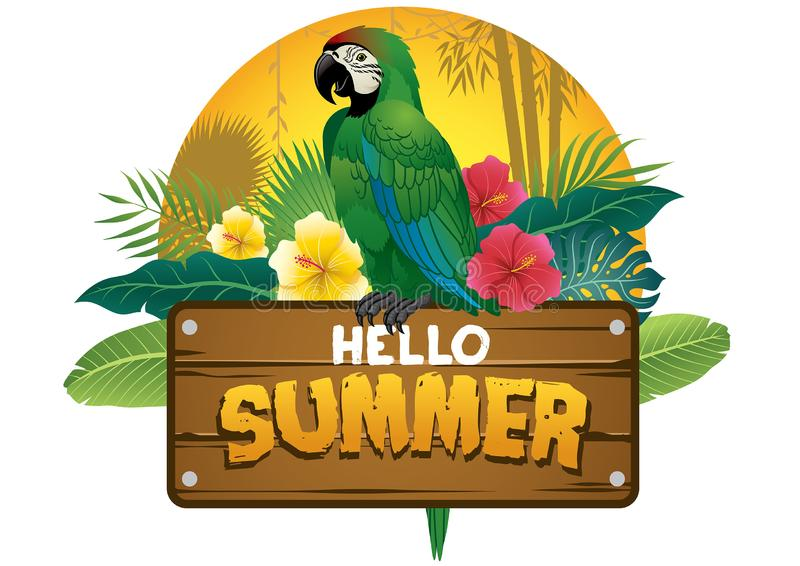 Green parrot bird sits on the wood plank sign royalty free illustration