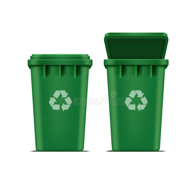Vector Green Recycle Bin for Trash and Garbage. Isolated on White Background royalty free illustration