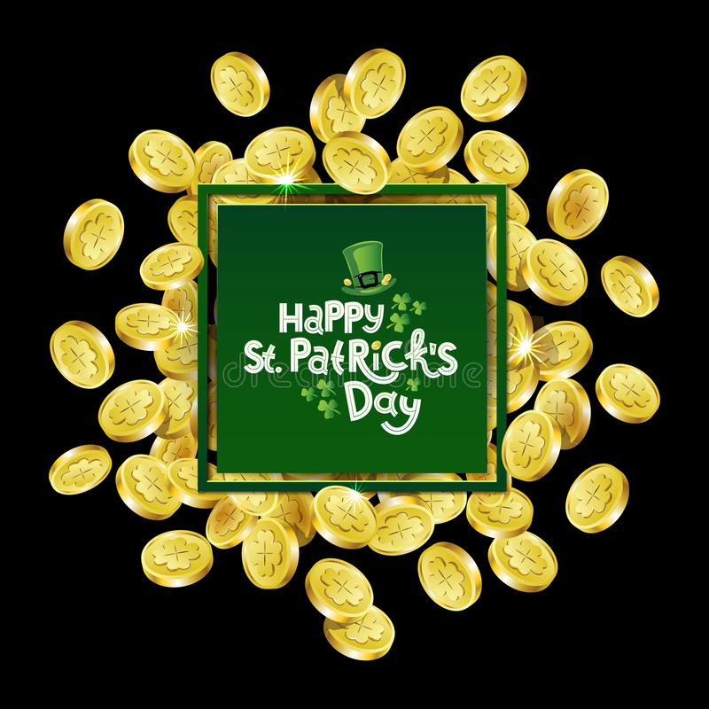 Vector Green square Advertising frame. Scattered golden coins depicting shamrock with lettering text St. Patricks Day stock illustration