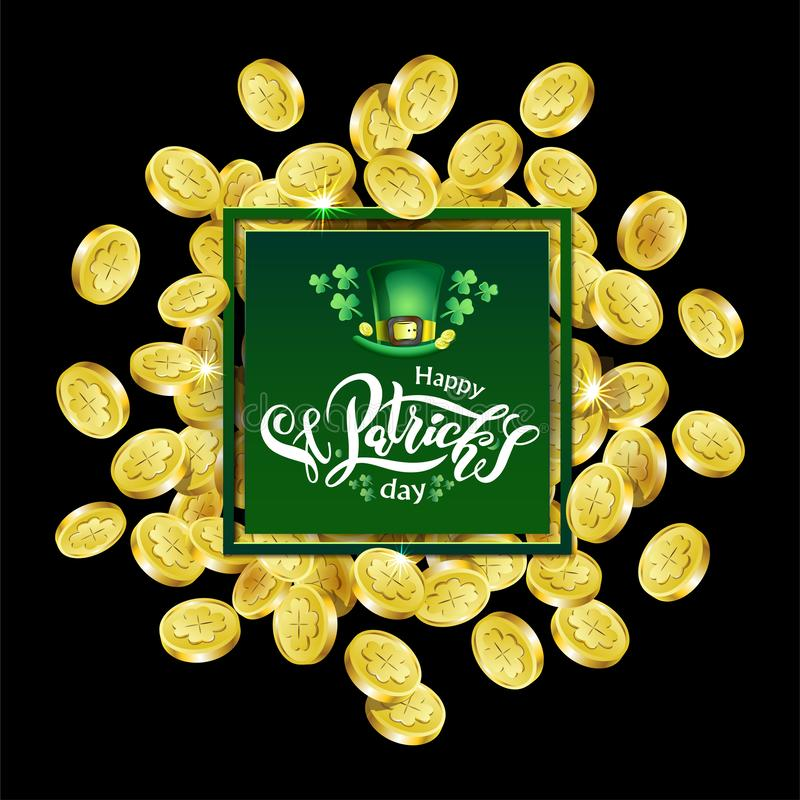 Vector Green square Advertising frame. Scattered golden coins depicting shamrock with lettering text St. Patricks Day royalty free illustration