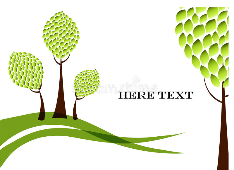 Vector green trees. Abstract trees with greens on a white background royalty free illustration