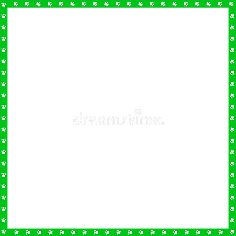 Vector green and white square frame made of animal paw prints copy space. Vector green and white square border made of animal paw prints isolated on white royalty free illustration