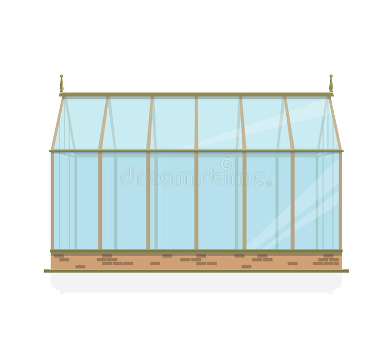 Vector greenhouse with glass, foundations and gable roof, side view. vector illustration