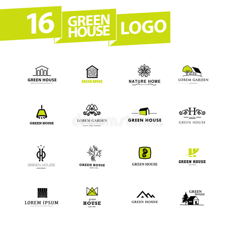 Vector greenhouse logo templates. Hothouse insignia collection stock illustration