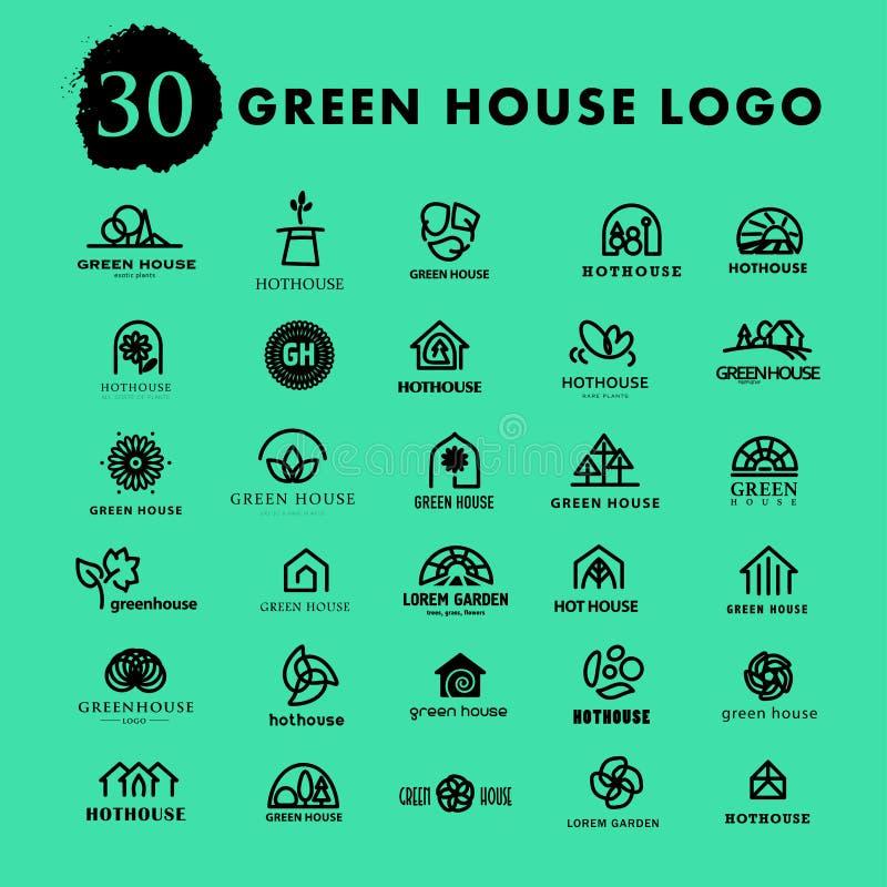 Vector greenhouse logo templates. Hothouse insignia collection vector illustration