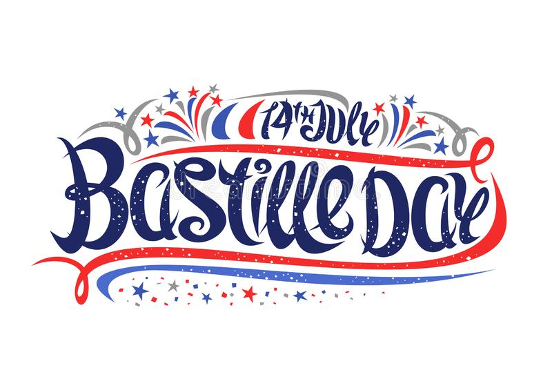 Vector greeting card for Bastille Day royalty free illustration