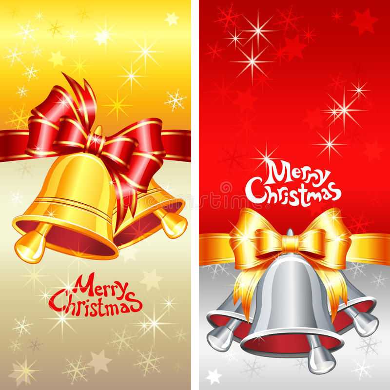 Vector Greeting Card With Christmas Bells, Bow And Stock Images
