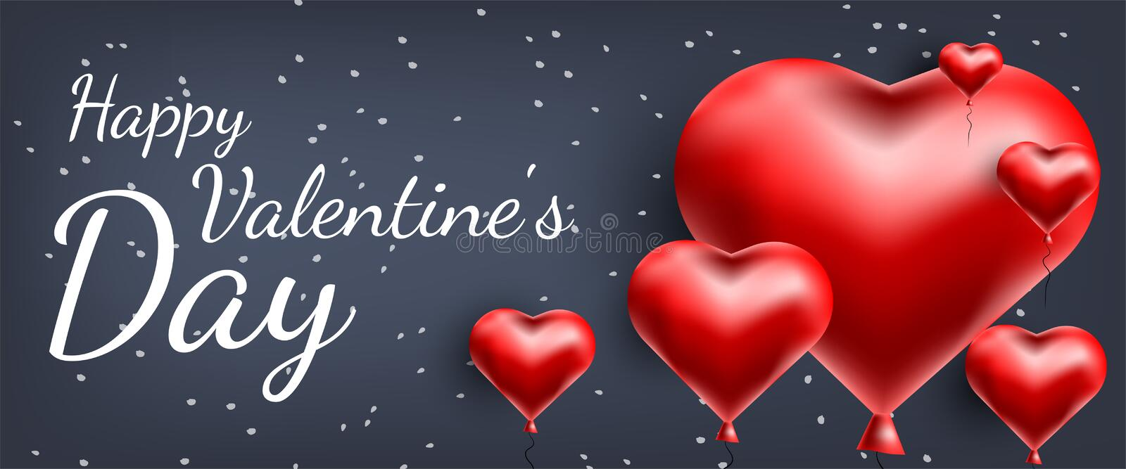 Vector greeting card with 3d hearts. Valentine s Day. Love and romance.  stock illustration