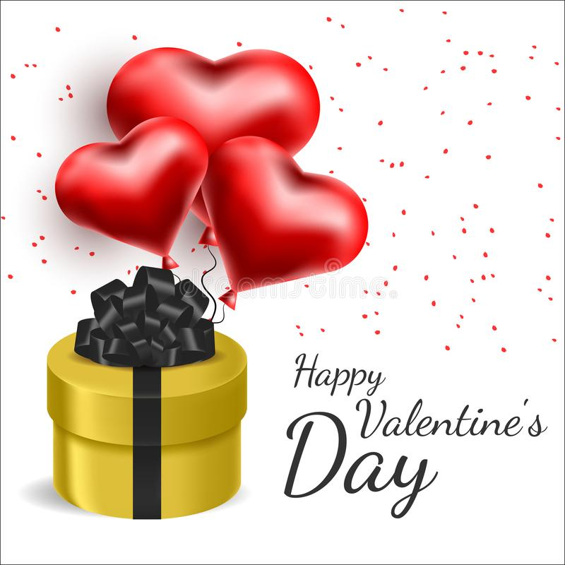 Vector greeting card with 3d hearts. Valentine s Day. Love and romance.  vector illustration