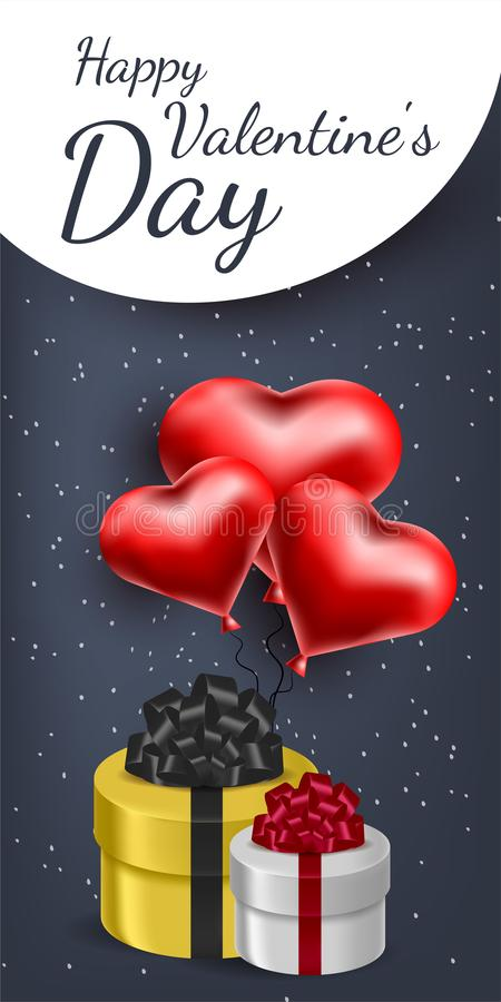Vector greeting card with 3d hearts. Valentine s Day. Love and romance.  royalty free illustration