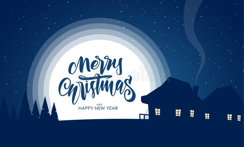 Vector greeting card with flat night silhouette village landscape and handwritten lettering of Merry Christmas. Vector greeting card with flat night silhouette vector illustration
