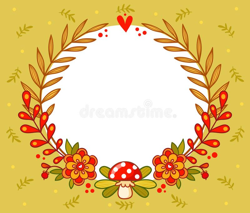 Vector greeting card with flower frame. stock illustration