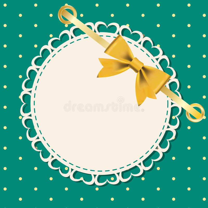 Download Vector Greeting Card With Frame And Bow. Stock Vector - Illustration of paper, border: 23487990
