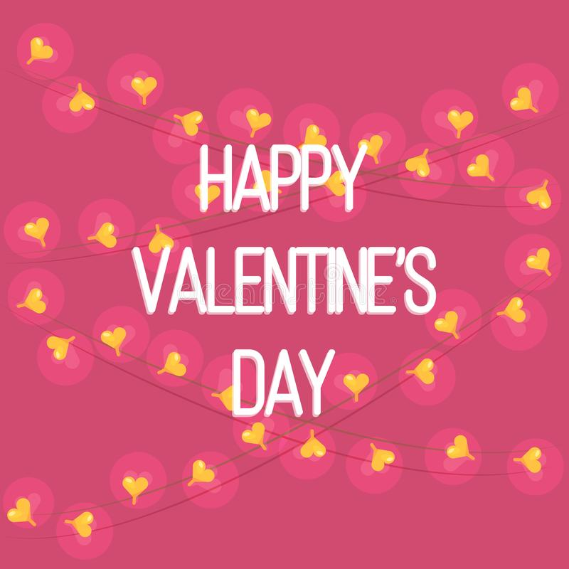 Vector Greeting Card of Happy Valentine`s Day. With Garland of Hearts. Cozy Cute Illustration for Postcard. Simple Postcard in Pink Colors royalty free illustration