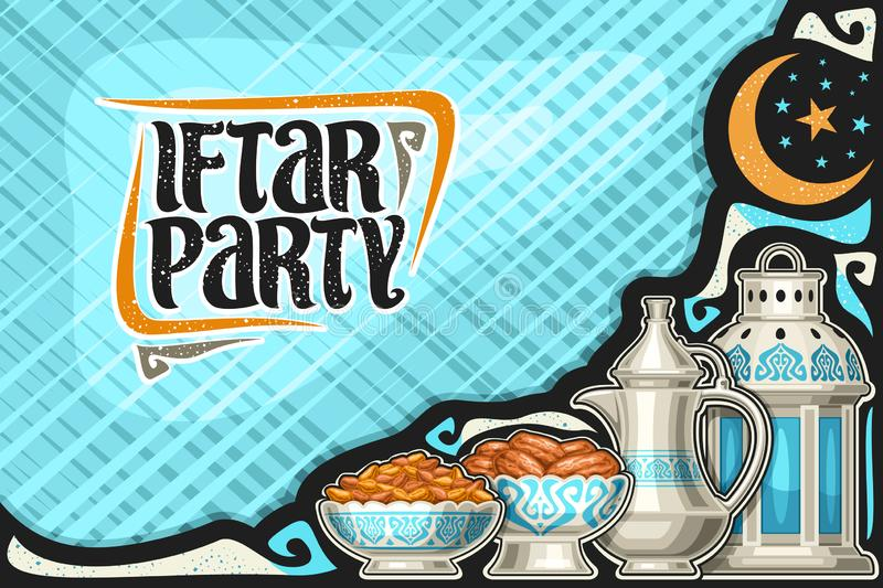 Vector greeting card for Iftar Party. With copy space, old lantern,metal bowls with dried sweet fruits, oriental tea kettle for holy month of ramadan vector illustration