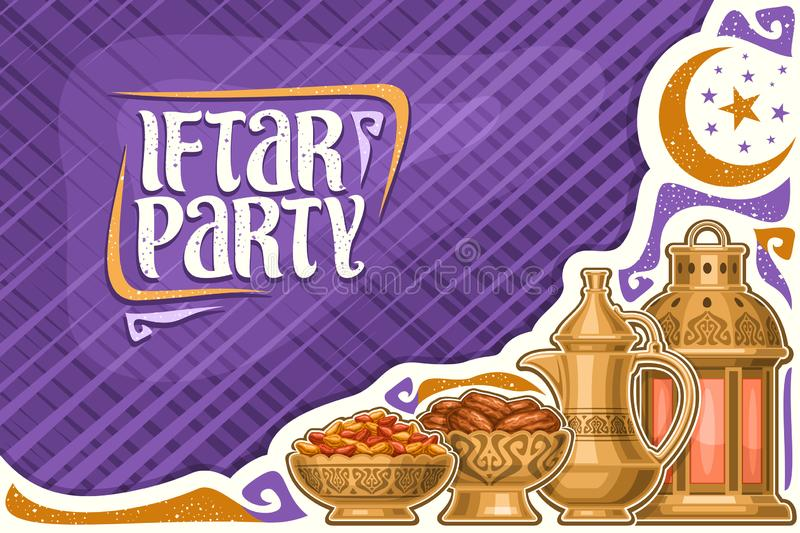 Vector greeting card for Iftar Party. With copy space, old lantern, golden bowls with dried sweet fruits, oriental tea kettle for holy month of ramadan royalty free illustration