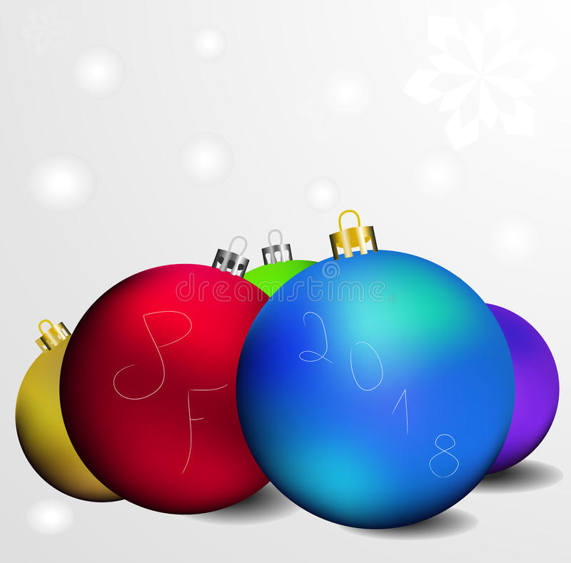 Vector greeting card with inscription pf 2018 and a few colored christmas globes. This is vector greeting card with inscription pf 2018 and a few colored vector illustration
