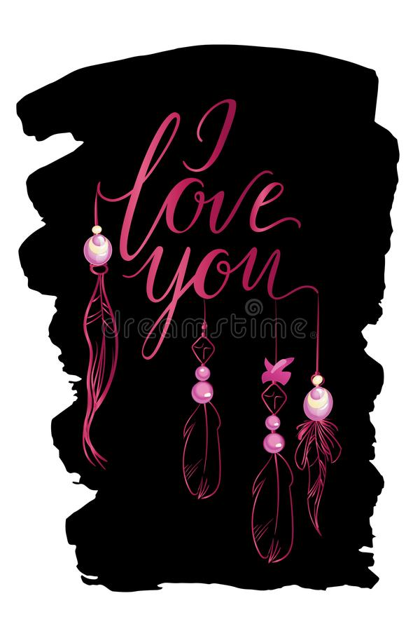 Vector greeting card. Luxury pink I LOVE YOU inscription with feathers and jewels on a black background. Universal love postal. royalty free illustration