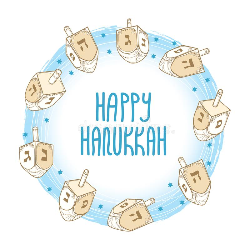 Vector greeting card with outline Hanukkah or Hanuka dreidel or sevivon with Hebrew alphabet in blue and beige isolated on white. Vector greeting card with royalty free illustration