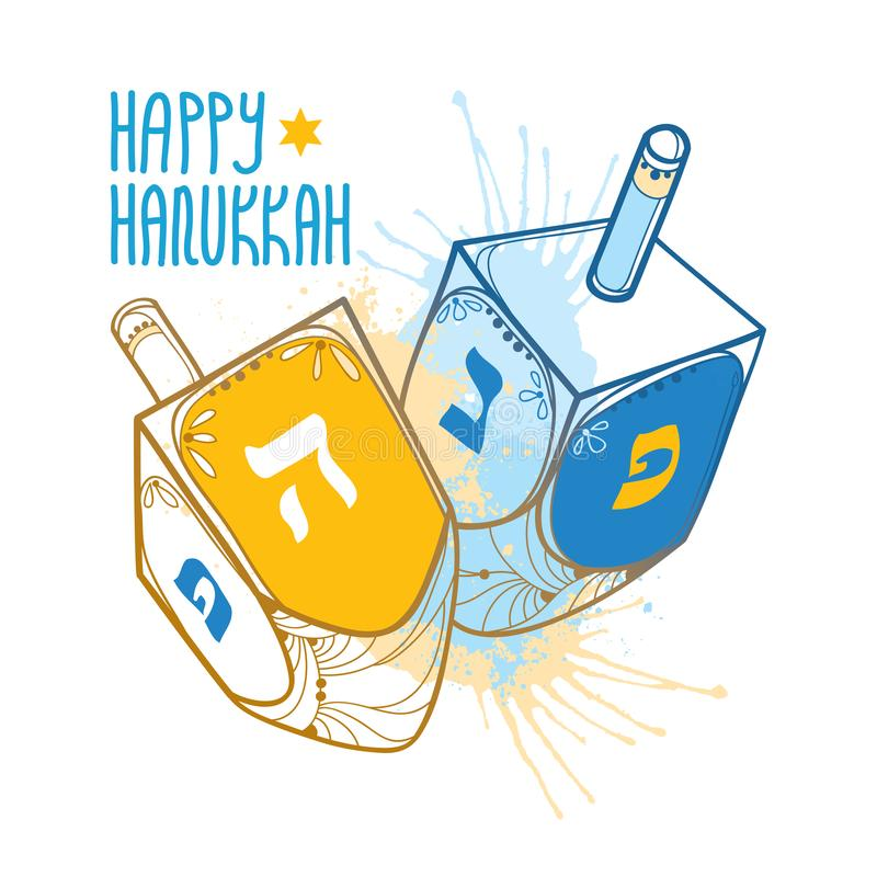 Vector greeting card with outline Hanukkah or Hanuka dreidel or sevivon with Hebrew alphabet in blue and beige isolated on white. Vector greeting card with stock illustration