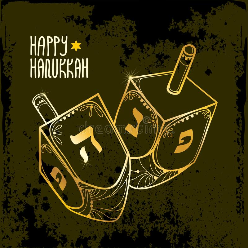 Vector greeting card with outline Hanukkah or Hanuka dreidel or sevivon with Hebrew alphabet in golden colored on the black. Vector greeting card with outline royalty free illustration