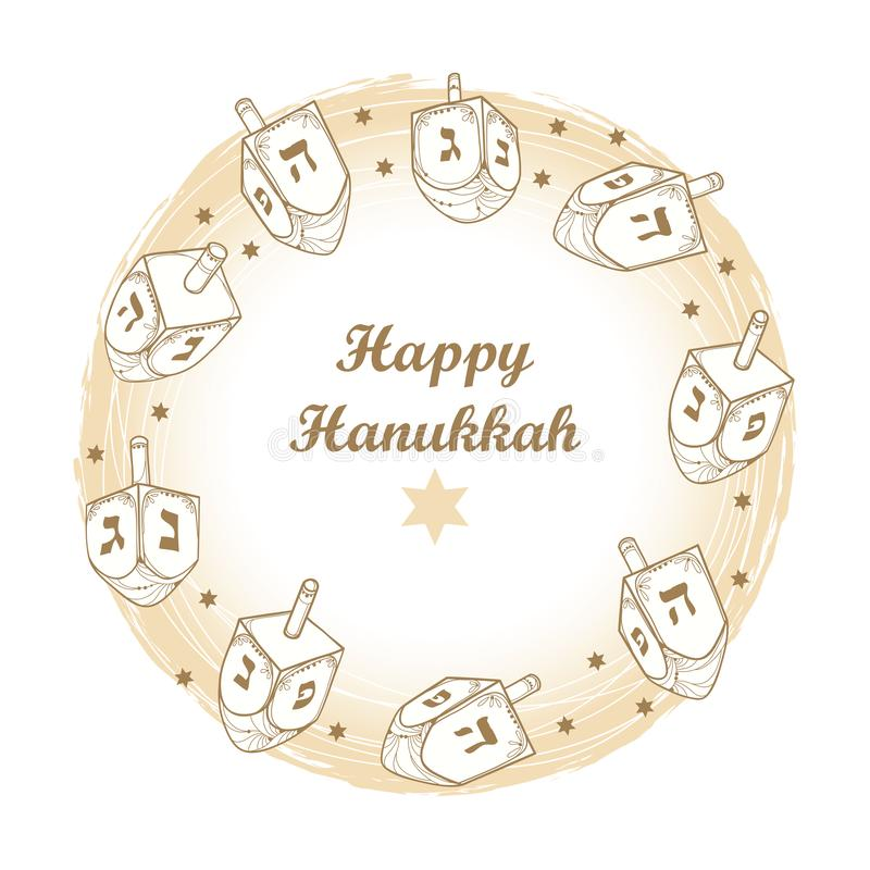 Vector greeting card with outline Hanukkah or Hanuka dreidel or sevivon with Hebrew alphabet in pastel beige isolated on white. Vector greeting card with vector illustration