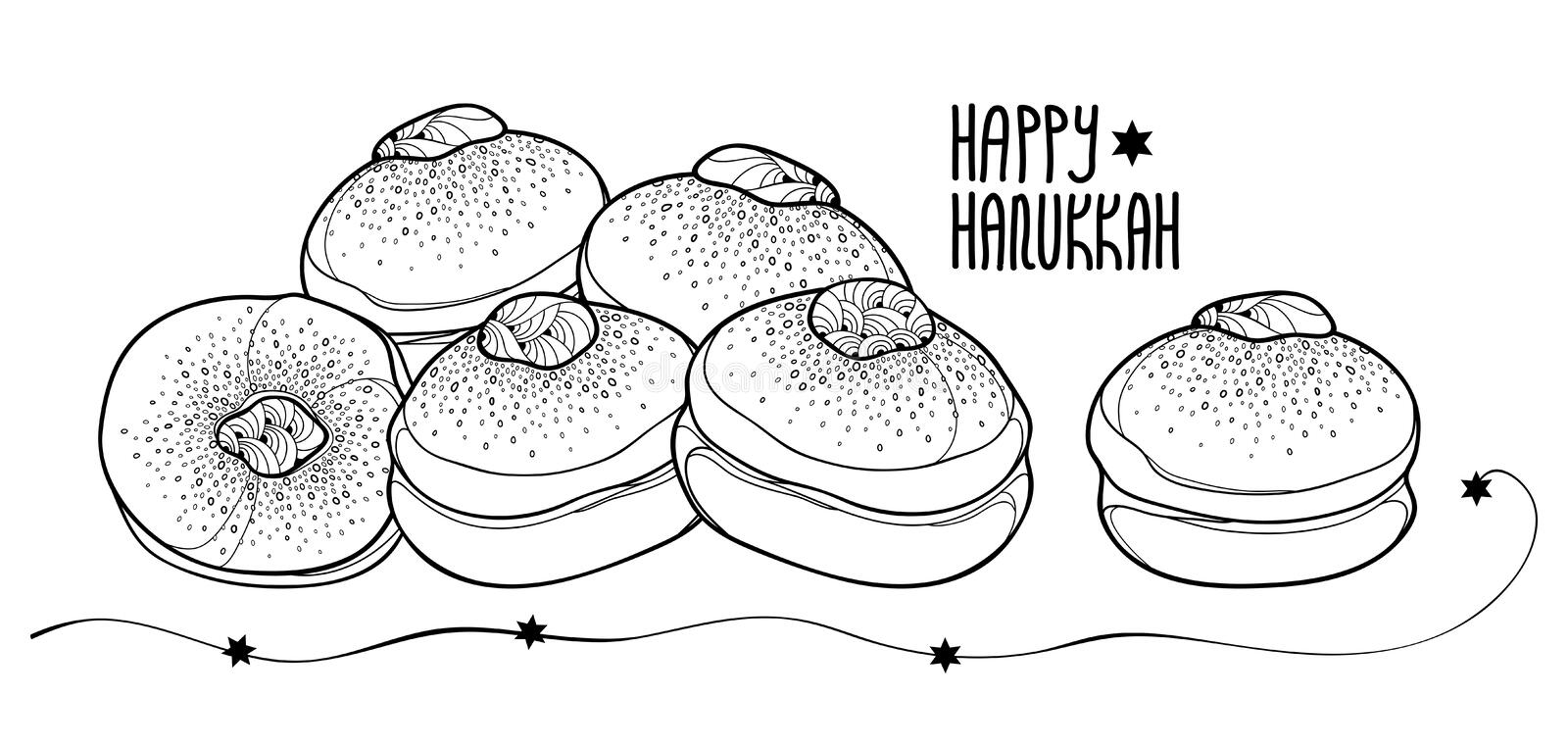 Vector greeting card with outline traditional Hanukkah sufganiyah or sufganiyot or doughnut in black isolated on white background. Contour jelly donut for stock illustration