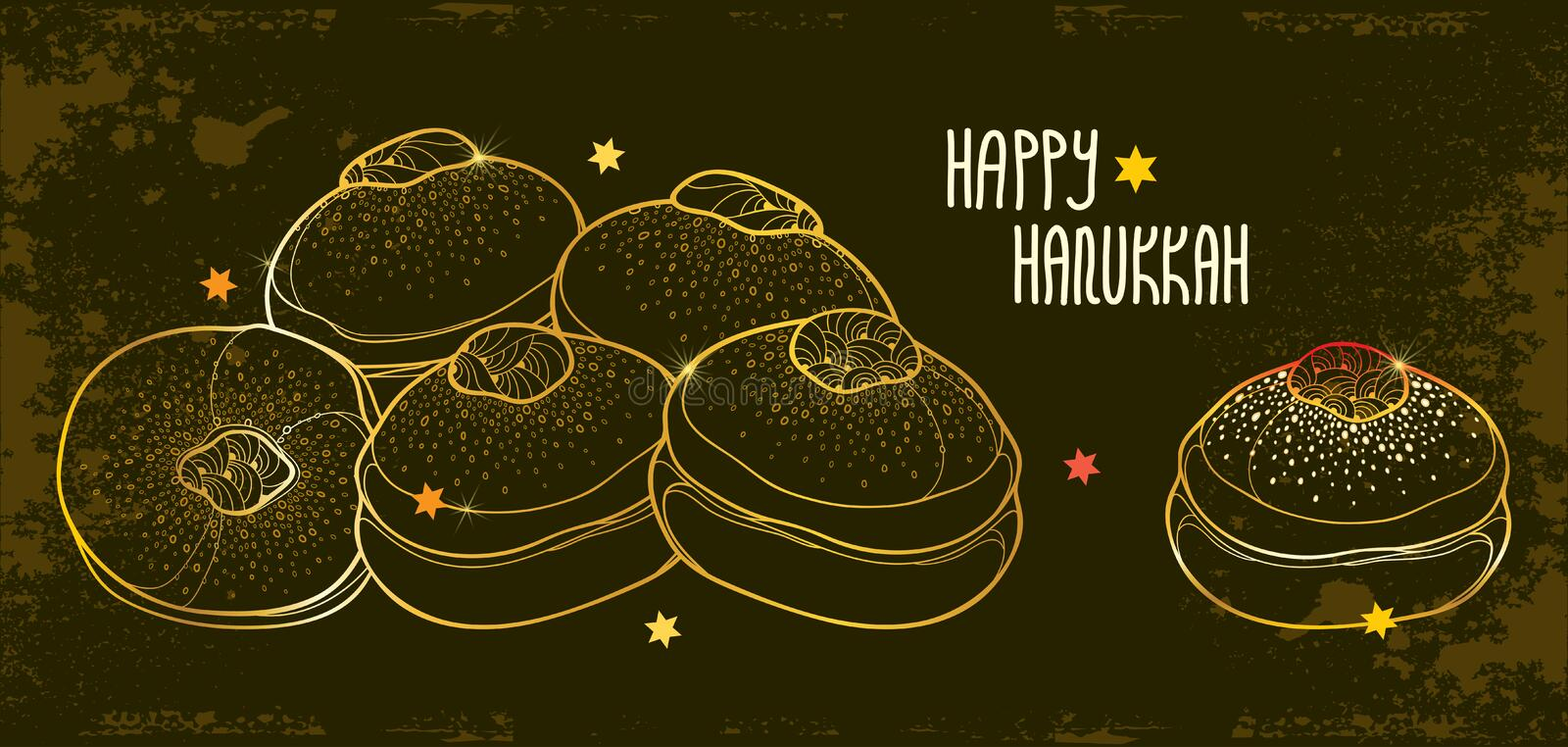 Vector greeting card with outline traditional symbol Hanukkah sufganiyah or sufganiyot or doughnut in golden colored on black. Vector greeting card with outline stock illustration