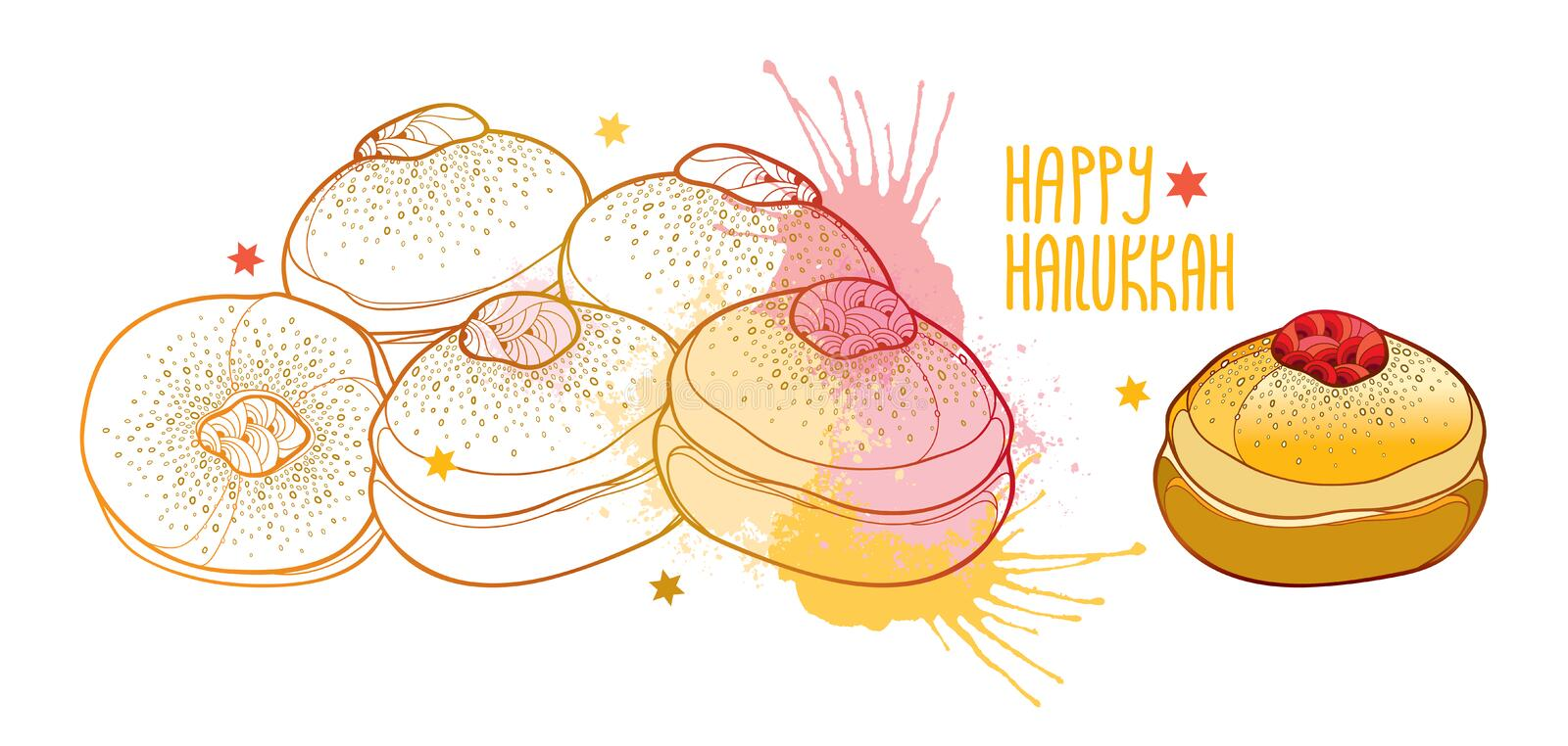 Vector greeting card with outline traditional symbol Hanukkah sufganiyah or sufganiyot or doughnut in pastel beige and pink. Vector greeting card with outline royalty free illustration