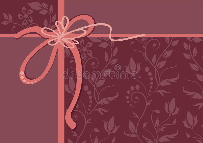 vector greeting card with ribbon and ornament
