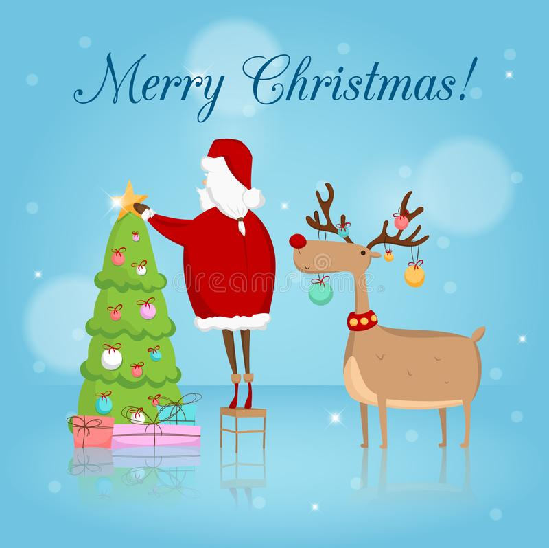 Free Vector Greeting Card With Santa Claus, Christmas Tree And Reindeer Royalty Free Stock Images - 103964939
