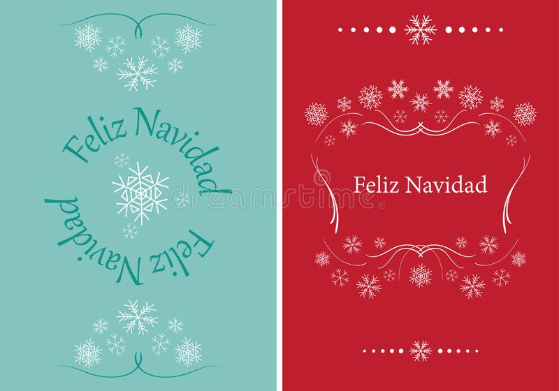 Vector greeting cards for christmas - feliz navidad stock illustration