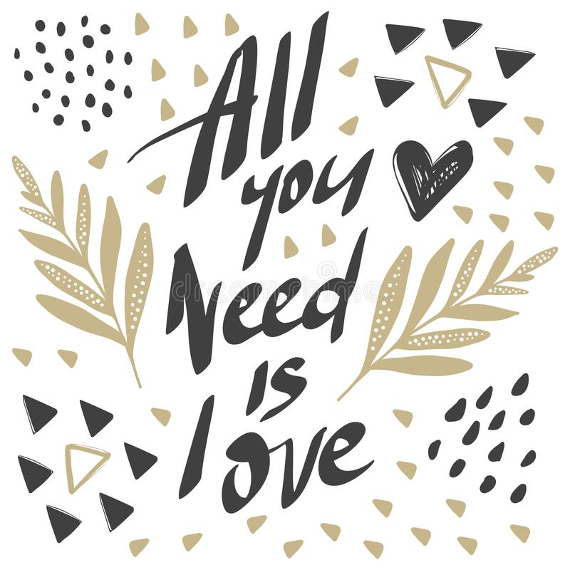 Vector greeting cards on Valentine`s Day. Flowers, hearts, love. Doodle illustrations. Cute design. Hand drawn art. All you need is love vector illustration