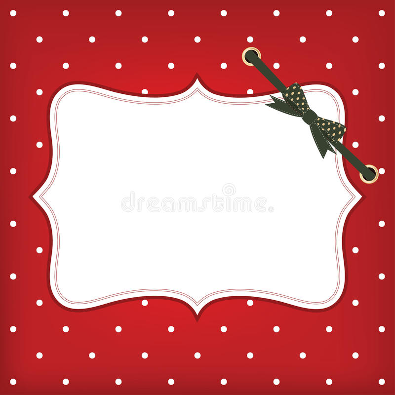Vector greeting christmas card with frame and bow vector illustration